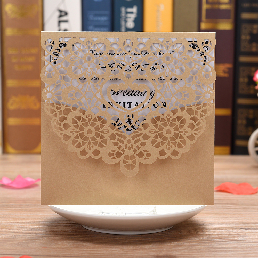 100 PCS Laser Cut Lace Wedding Party Invitations Cards with Printable Paper for Engagement Wedding Marriage Birthday greeting