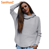 SanHuaZ 2017 Autumn Winter Women S Sweaters Casual Turtleneck Long Sleeve Solid Ruffles Women Pullovers Sweaters