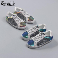 Kids Genuine Leather Casual Shoes Baby Girls Boys Glitter Street Fashion Casual Shoes 2018 Spring Autumn Children Sneaker