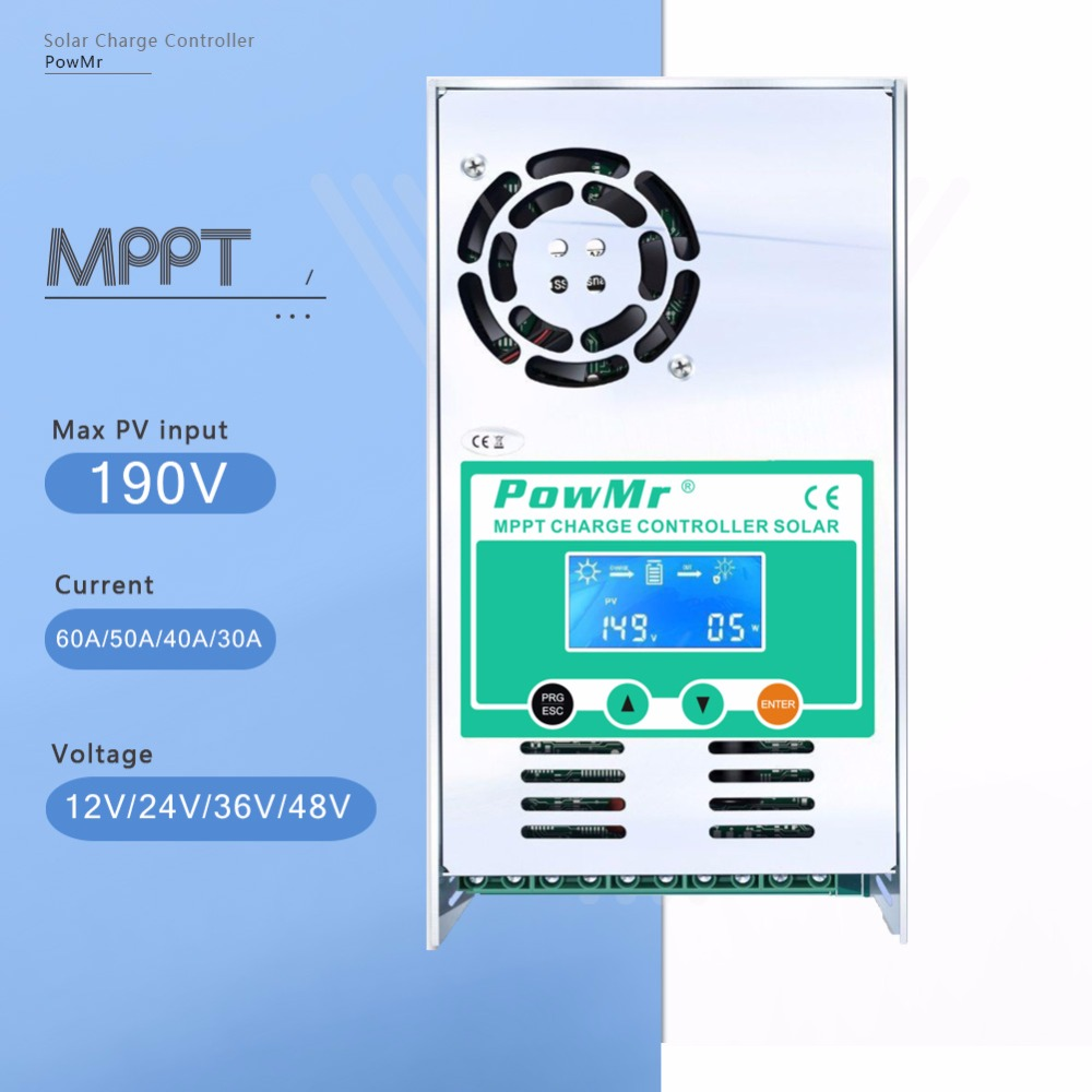 PowMr MPPT 60A 50A 40A 30A LCD Solar Charge Controller 12V 24V 36V 48V Auto Solar Panel Battery Charge Regulator for Max 190V