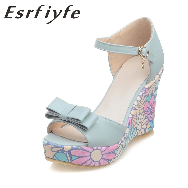 ESRFIYFE 2018 New Shoes Women Summer Summer Sweet Flowers Buckle Open - Կանացի կոշիկներ