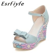 ESRFIYFE 2018 Këpucë të reja Gratë Vajra Lule të ëmbla Vajra Sandalet e këmbëve të hapura me këmbë, sandale me lule të larta me këpucë me takë të lartë Bohemia Style Shoes