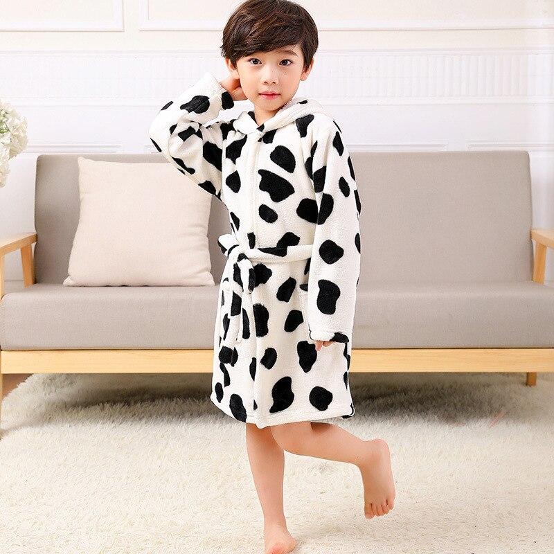 Junge Mädchen Pyjamas Kinder Pyjama Set Unisex Dicken Flanell Stich Kinder Pyjama Kinder Cartoon Tier Gürtel Nachtwäsche Clear-Cut-Textur
