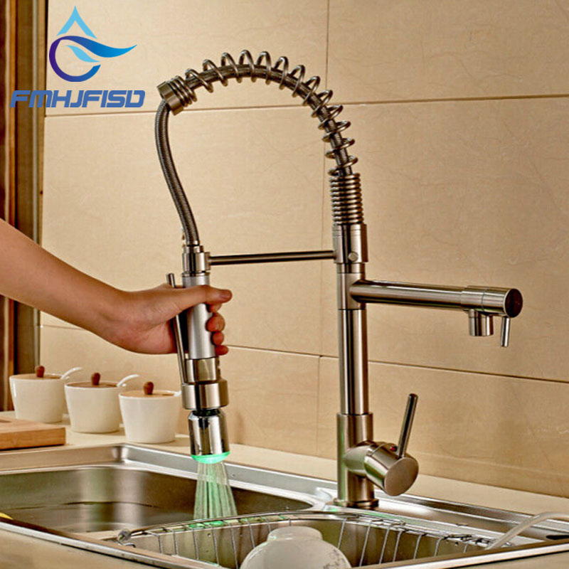 NEW Luxury LED Colors Brushed Nickel Kitchen Sink Faucet Swivel Spout Mixer Tap