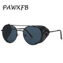 PAWXFB 2019 High quality Punk Sunglasses women men Fashion Round Accessories Female Pilot Sun Glasses