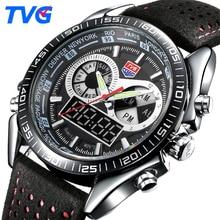 TVG Luxury Brand Men Watch Waterproof Sport Watch Men Watches LED Digital Quartz Leather Military Wristwatches Relogio Masculino
