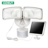 GOSUN Led Solar Motion Flood Light Waterproof IP44 2 Head Outdoor Indoor Security Lights 39FT 950LM
