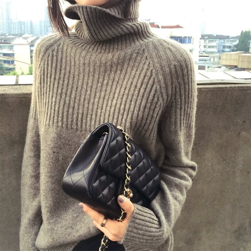 Warm Best Coffee Knit Ladies Cashmere Shirt Loose Women 18 gray Pullover Sleeve Sweater Long camel Collar New High Frseucag Wool Selling 75gUqwxB