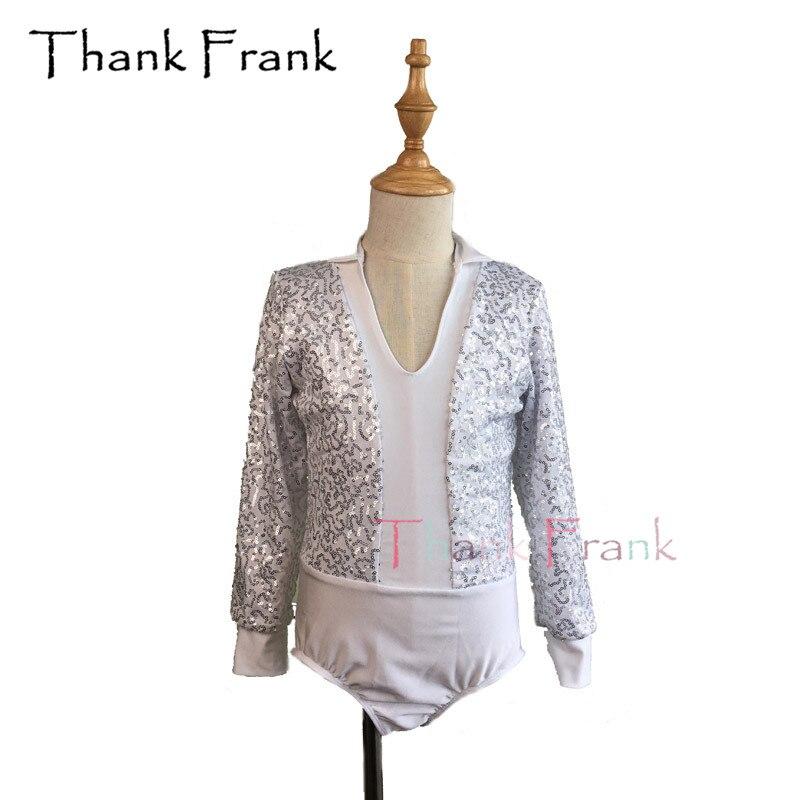 Boys Sequin Ballet Leotard Men Long Sleeve Dance Short Unitard Male Costume C416