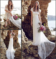 2016 Anna Campbell Lace Beach Wedding Dress Cap Sleeves Low Back Bohemian Bridal Marriage Dresses Boho Bridal Gown Robe De Marie