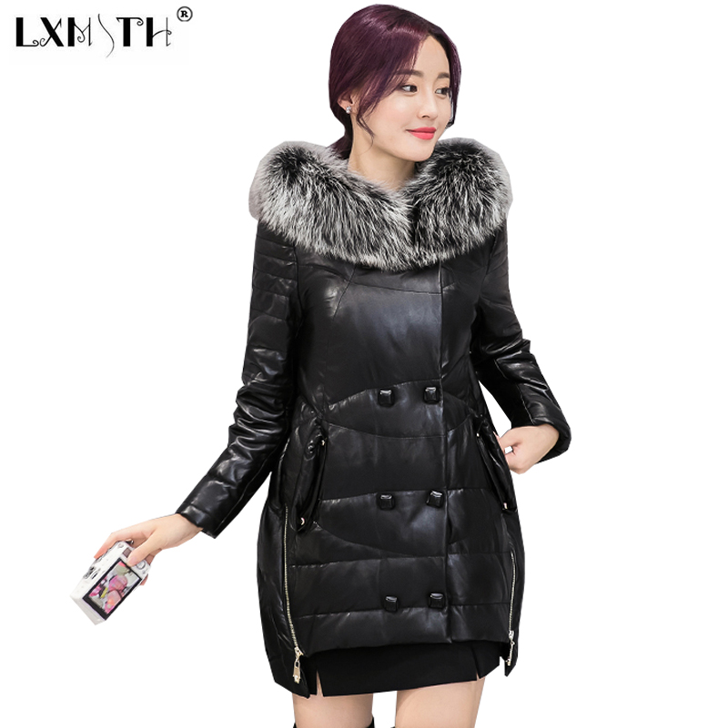 4XL Female Jacket Outwear Hooded Collar Faux Fox Fur Long Double Breasted Coat Female Large Size Irregular Goose Down Jacket double collar designed jacket earthy size l