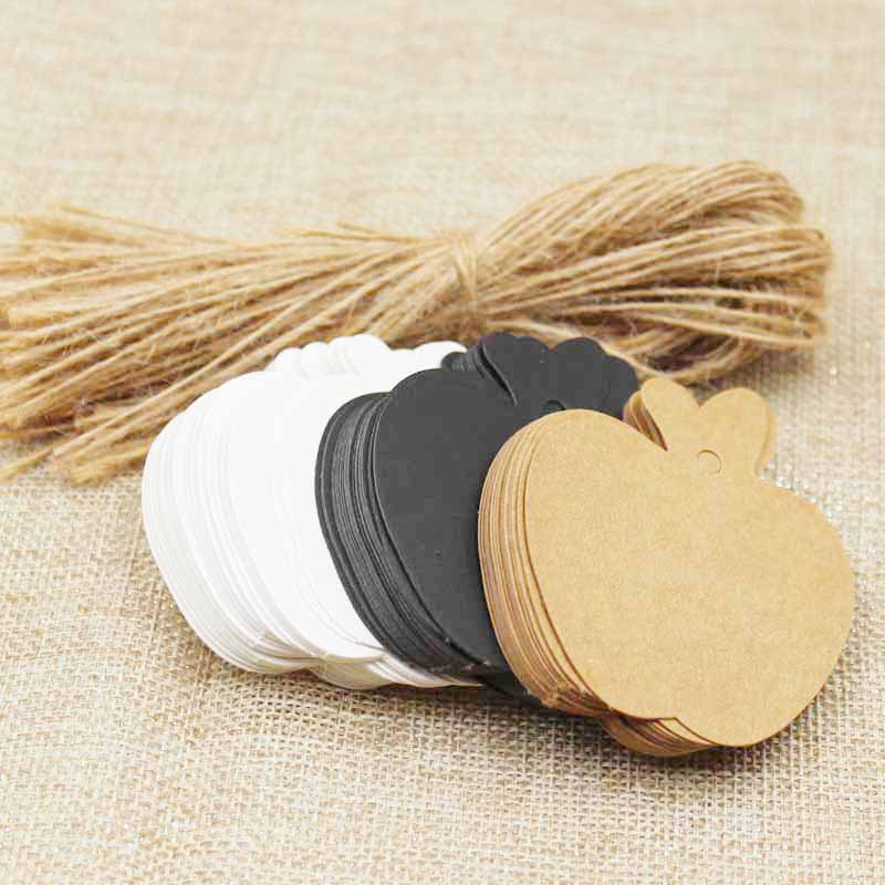 zerongE jewelry Apple Shape brown Paper gift swing tagging tag black/white garment cloth products tag labe 200pcs+200 ropes