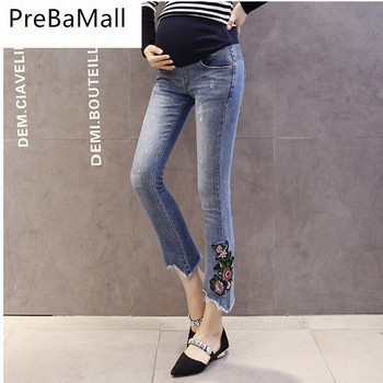 38958b044 Bordado maternidad jeans Multi-estilo pantalones vaqueros para las mujeres embarazadas  cintura elástica embarazada embarazo ropa B0550