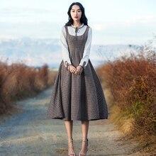 2018 Spring Women dress Vintage Retro Elegant Long Sleeve  Plaid One-piece Pattern Vestido