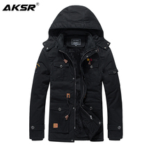 AKSR Men Brand Clothing Autumn Winter Jacket Mens Fashion Casual Slim Thick Warm Coats Removable Hooded Long Outerwear