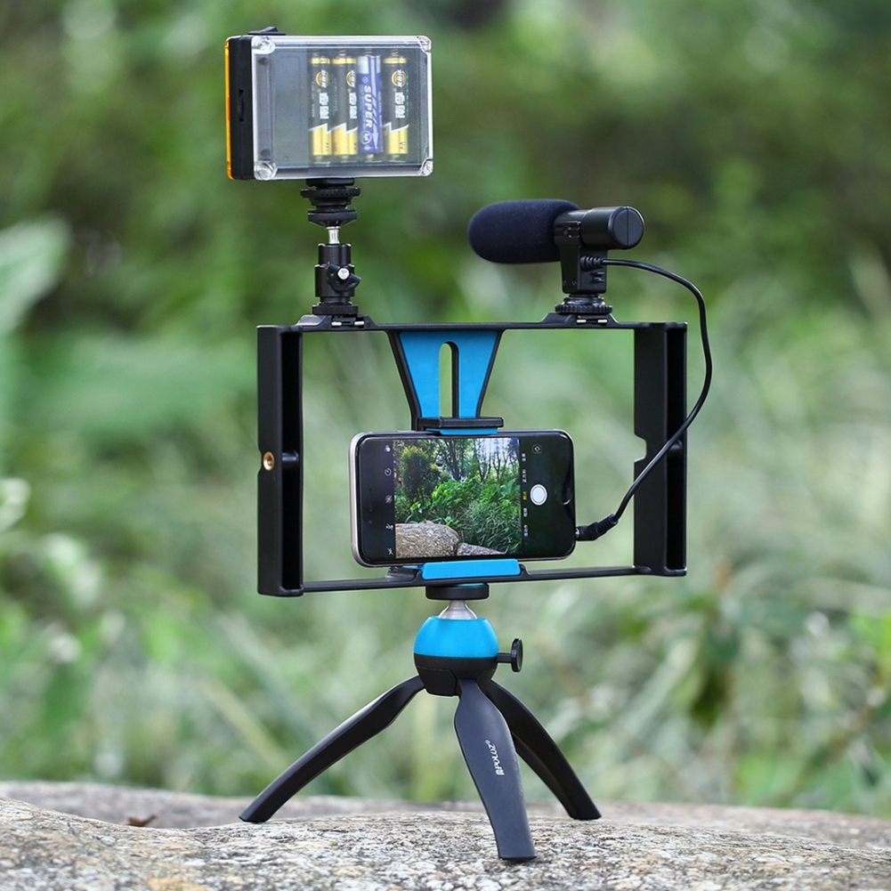 Photo Studio Accessories LED Studio Smartphone Video Rig+LED Studio Light+Cold Shoe Tripod Head For IPhone Galaxy