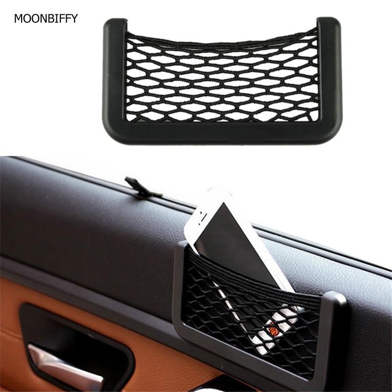 MOONBIFFY 15X8cm Automotive Bag With Adhesive Visor Car Net Organizer Pockets Net Convenient Cell Phone Bag For Car