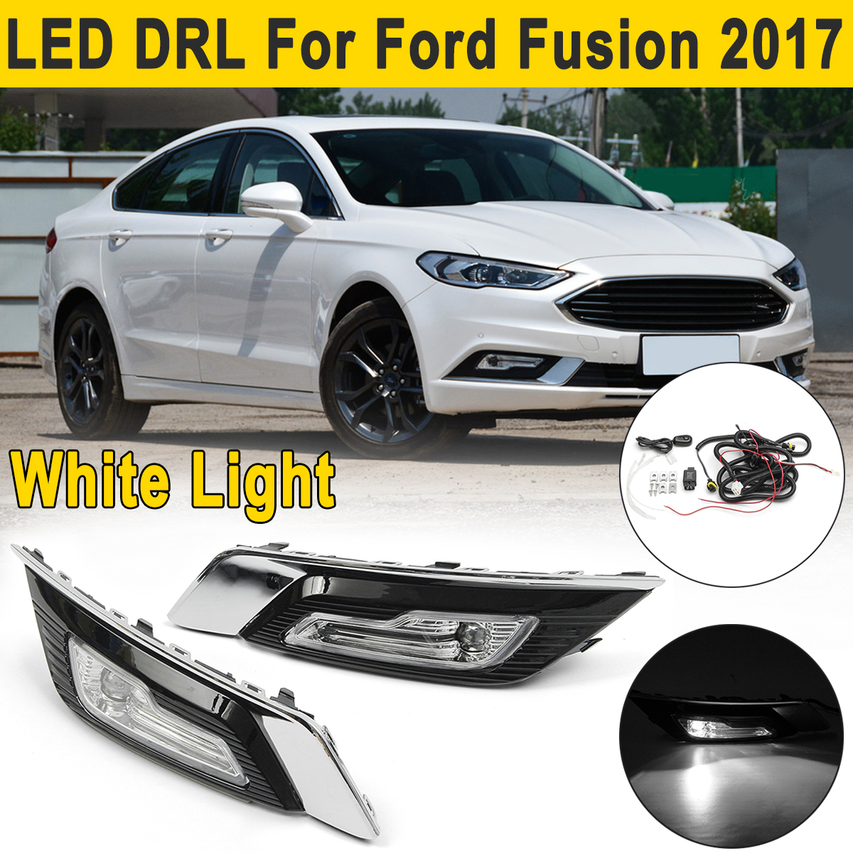2x for Ford for Fusion 2017+ up LED DRL Driving Lights Turn Signal Light Fog Lamp Daytime Running Light Daylight with Wire eosuns led drl daylights daytime running light with yellow turn signal fog lamp for ford mondeo 2010 12 wire module controller