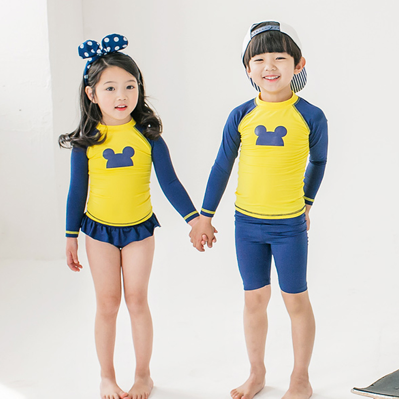 Kids Swimsuit Two Piece Boys Bathing Suits Girls Dress Bodysuit Cute Mickey Long Sleeve Swimwear Children Swimming Beach Wear child swimwear one piece girls swimsuits kids bathing suits baby swimsuit girl children beach wear diving swimming suit