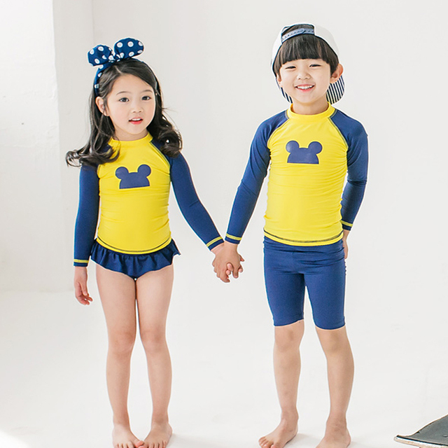 e8a9113f26 Kids Swimsuit Two Piece Boys Bathing Suits Girls Dress Bodysuit Cute Mickey Long  Sleeve Swimwear Children Swimming Beach Wear