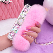 Luxury Bling Rhinestone Diamond Rabbit Fur Ring Buckle Soft Case For Xiaomi 5 5s Plus 5X 6 Max MIX 2 3 For Redmi Note 3 4 4X 5A
