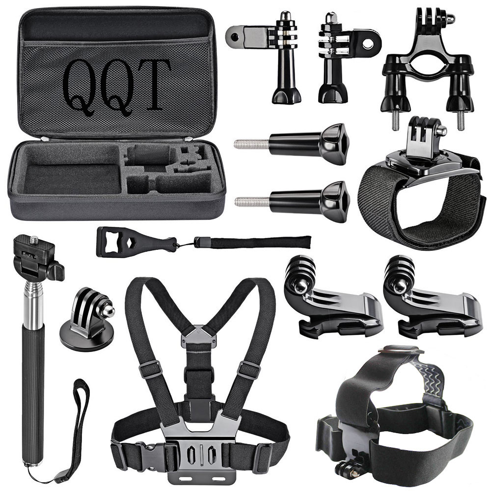 QQT for GoPro Hero Accessories Strap Mount Set with Selfie Stick for GoPro Hero 6 5 4 3+ 3 2 Xiaomi Yi 4 K SJCAM Eken Camera high precision cnc aluminum alloy lens strap ring for gopro hero 3 red