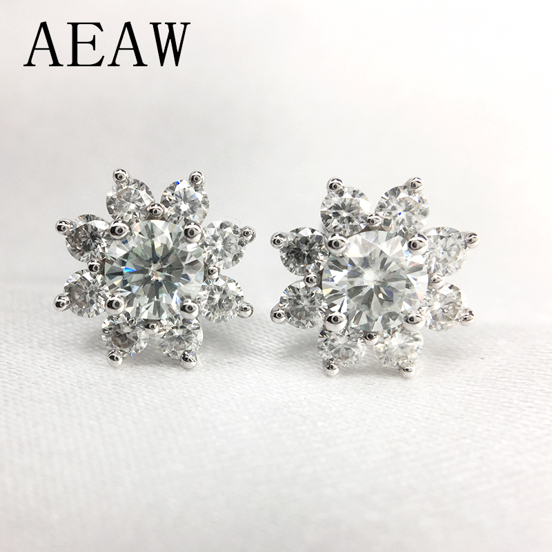 0 6 cttw Round Excellent Loose 3MM Moissanite Earrings 14K White Gold Flower Stud Earrings For