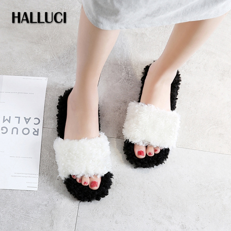 HALLUCI Furry slides peep toe home slippers shoes women Sandals outdoor lovely fur Slip On slipper flip flops shoes loafers halluci breathable sweet cotton candy color home slippers women shoes princess pink slides flip flops mules bedroom slippers