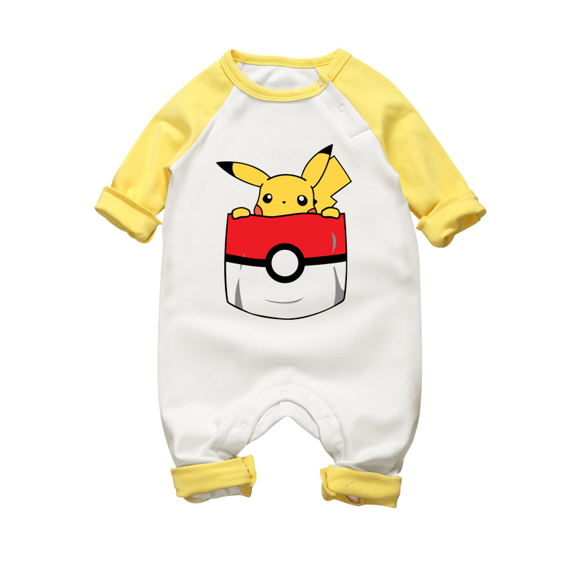 2017 New Cute Pikachu Cotton Baby Tuta Neonato One-piece Autunno Inverno Vestiti Baby Boy Girl Warm Cartoon Divertente pagliaccetto
