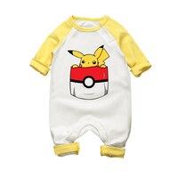 2017 Nieuwe Leuke Pikachu Katoen Baby Jumpsuit Pasgeboren Een stuk Herfst Winter Kleding Baby Boy Meisje Warm Cartoon grappige Romper