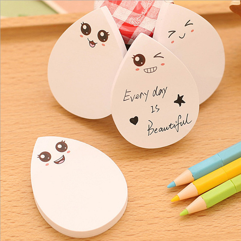 DIY Water Drop Face Smily Memo Pad Sticky Label Post It School Sticky Note For School Office Supplies Stationery