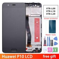 Huawei P10 ЖК-дисплей сенсорный экран дигитайзер сборка VTR-L09 VTR-L10 для 5,1 Huawei P10 LCD с рамкой Замена