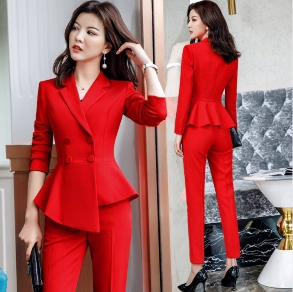 Woman Double Breasted Blazer and Pants Set for Office Women Slim Pants Suits Formal Work Suits for Women Wedding Party Pantsuit