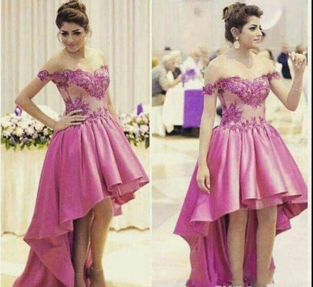 Hot Pink High Low Prom Dresses Off the Shoulder Beaded Lace Appliques Short  Front Long Back Teens Semi-Formal Prom Gowns New 95ba958eb7d7