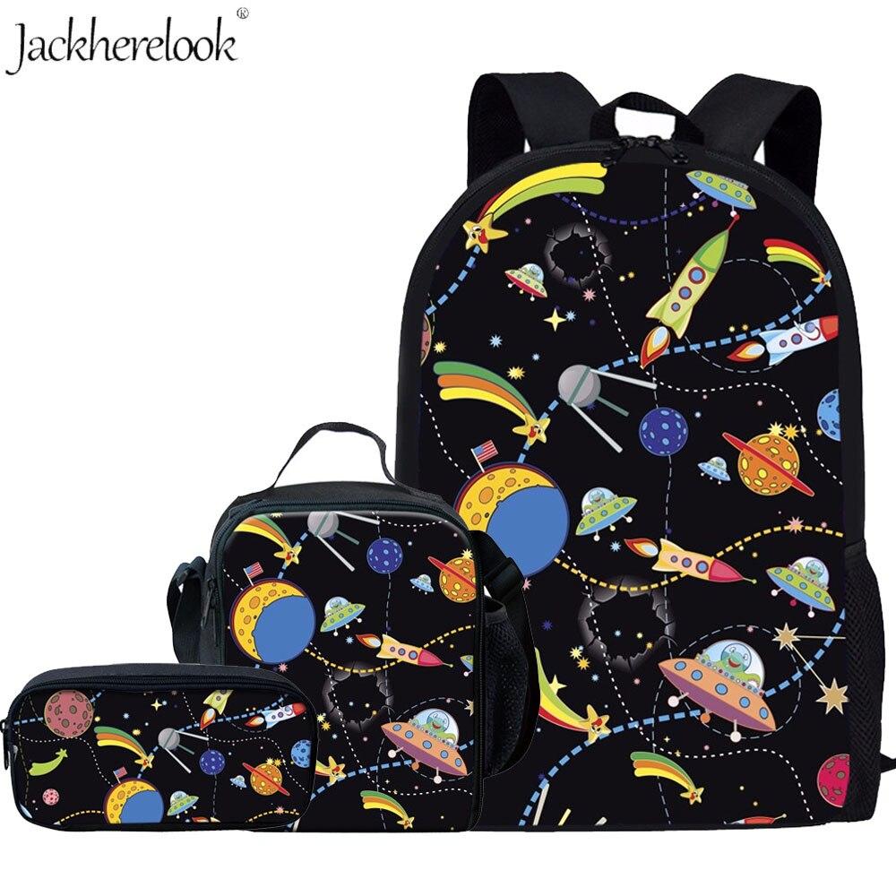 Jackherelook Cartoon Planets Print Kids School Bags Set 3PCS Children Space Cosmic Rocket Boys Girls Backpack Children Bookbags