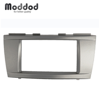 2 Din Radio Fascia for Toyota Camry DVD Stereo Panel Dash Mounting Installation Trim Kit Face Frame Dashboard Bezel Silver