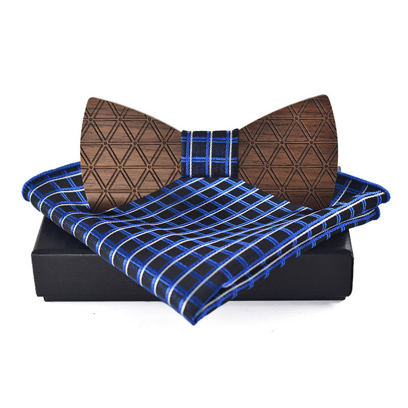 Fashion Wooden Bowtie Handkerchief Set Wedding Business Wood Bowknots Bow Tie For Mens Plaid Printed Bowtie Polyester Hanky