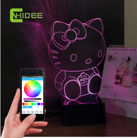 스마트 usb 블루투스 스피커 음악 야간 led 컨트롤러 3d lampara 조명 hello kitty 크리스탈 테이블 램프 아기 침실