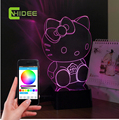 Smart USB Bluetooth Speaker Music Nightlight Led Controller 3d Lampara Lighting Hello Kitty Crystal Table Lamps for Baby Bedroom