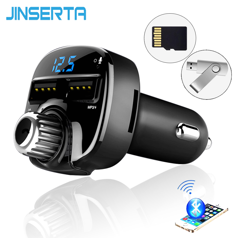 JINSERTA Car Styling Bluetoot FM Transmitter Car MP3 Audio Player FM Transmitter HandsFree TF USB Flash Drive music players