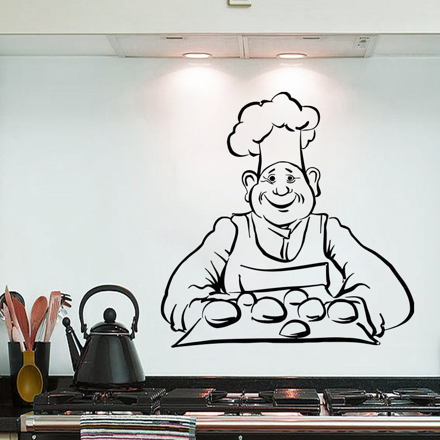 Wall Sticker Chef Bread Baking Wall Decal Kitchen Interior Design Wall Art Mural Bread Cafe Shop Decoration Vinyl Sitcker AY748