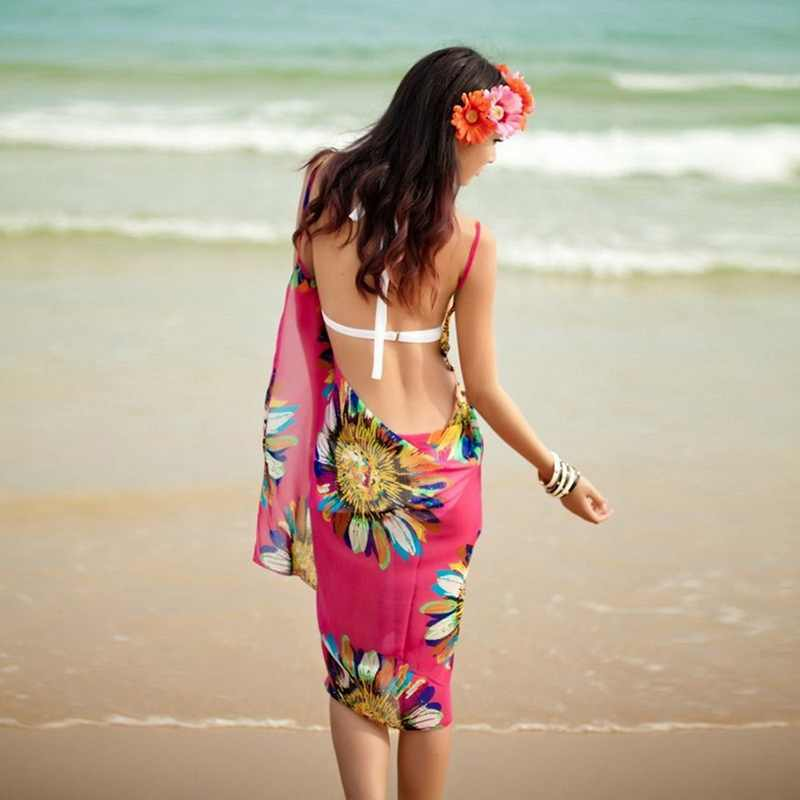 b1e921bdf5 ... Vertvie Sexy Beach Dresses Swim Women Chiffon Beach Tunic Backless Long  Dress Women Cover Up Bikini ...
