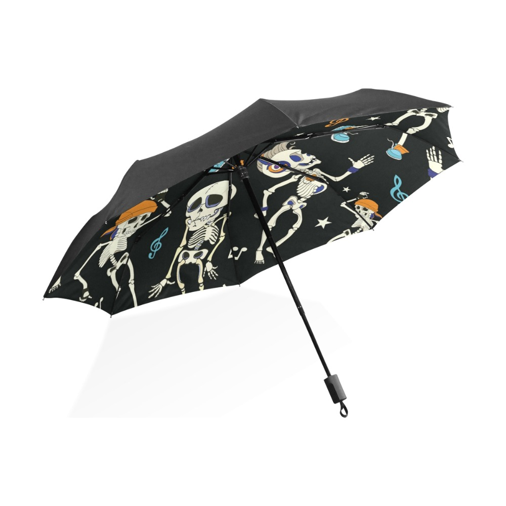 Schedel Dansen Muziek Zwart Patroon Paraplu Automatisch Vouwen Regen - Huishouden