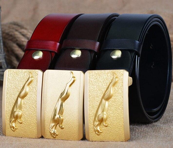 Jaguar Clothing Accessories: Solid Brass Gold Jaguar Buckle Full Grain 100% Genuine