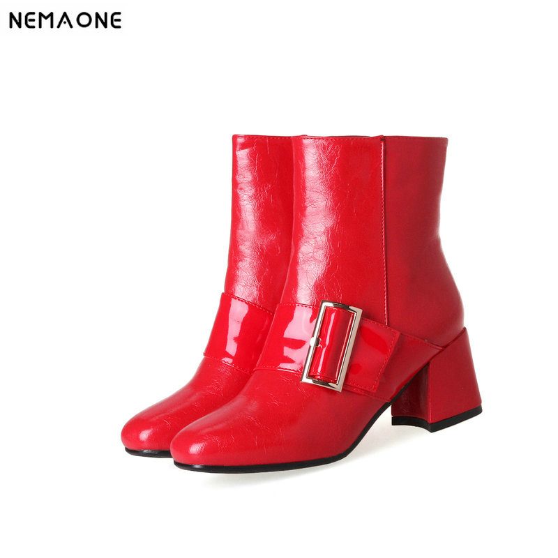 NEMAONE 6cm thick high Heels ladies ankle boots square toe women Boots spring autumn party dress shoes woman large Size 43 enmayer woman spike heels boots string bead solid ladies high heels zip pointed toe shoes large large size 34 46 spring autumn