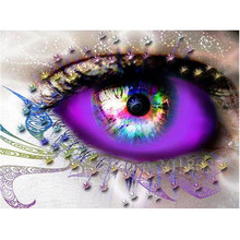 Diy Diamond Painting Cross Stitch Multicolored Beautiful Eyes Needlework Embroidery Full Round Mosaic Decoration Resin