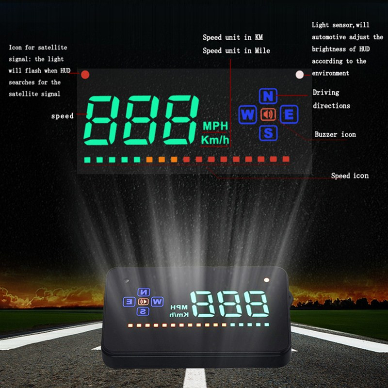 Image 3 - Compatible with All Car Speed Projector GPS Digital Car Speedometer A2 Electronics Head Up Display Auto HUD Windshield Projector-in Head-up Display from Automobiles & Motorcycles