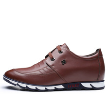 Brand flat with internal invisible increase of casual shoes Korean version the wild in men leather