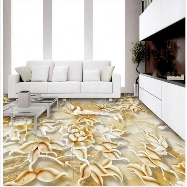 beibehang 3d flower and bird relief marble living room bathroom 3d floor tiles pvc thick wear - Green Tiles For Living Room Floor