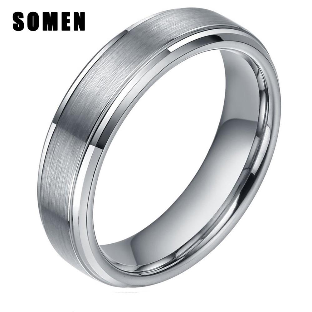 ᗕ6mm men s silver tungsten ring brush polished finish wedding band
